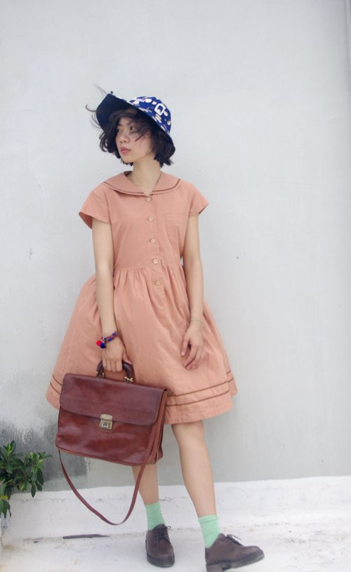 4.5studio- vintage treasure hunt - pink gray crew neck cotton dress waist