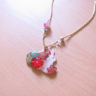 Color pink stone rabbit (gold) // 2nd use Accessories / Accessories Cloth / pair of small white rabbit necklace hand-made