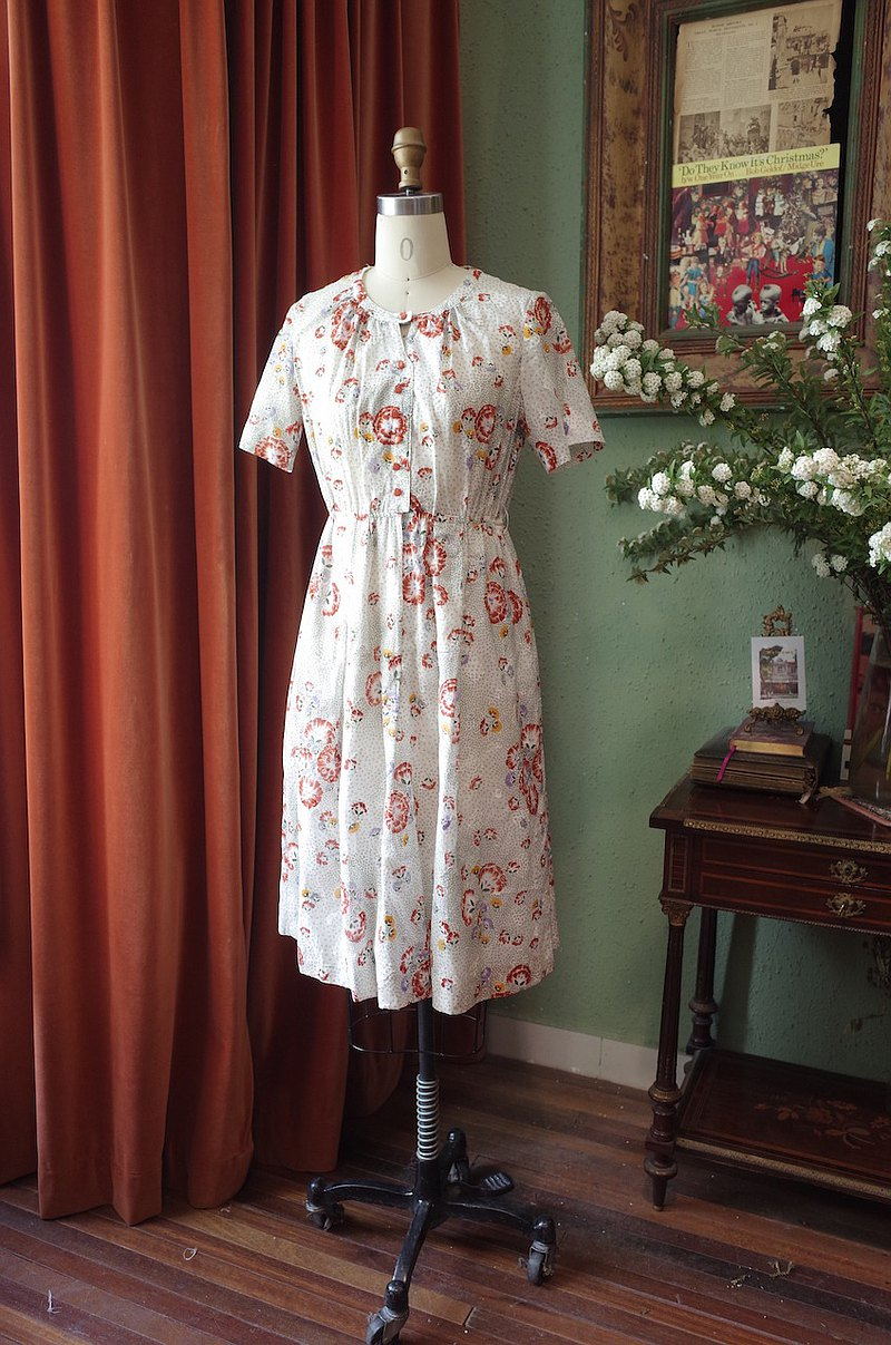 vintage dress剪絨立體印花連衣裙古著洋裝