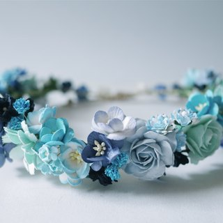 Paper Flower, Bridal flower crown, Circle wild 18 cm., dark blue, white, wooden blue brush white and light blue sky color.