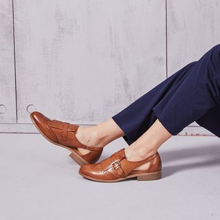 [Time collection] calfskin wing pattern carved side hollow tassels lofty shoes _ classic brown