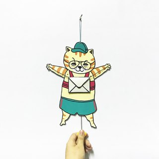 80s Sporty Tabby, paper puppet card