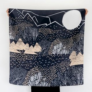 Mountain Blossom Midnight Blue Furoshiki Scarf