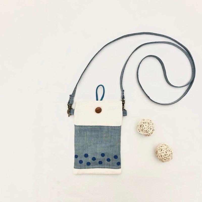 手繪掛著藍色珍珠奶茶走手機套 生日禮物 送禮