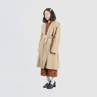 [Egg plant vintage] cream egg yolk large lapel wool vintage coat