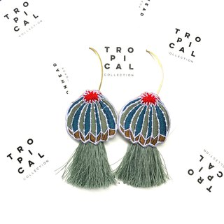 Cactus Green mint tassel Earrings