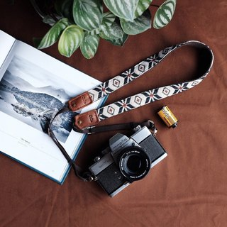 White flower woven Camera Strap