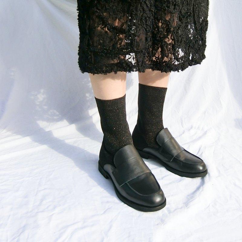 樂福真皮針織襪靴 ||卡普里島樂園 質感黑|| 8268