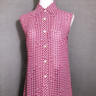 Sailboat Chiffon Sleeveless Vintage Shirt / Bring back VINTAGE abroad