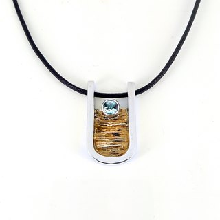 """Veins potential"" │ Topcoal gold paint thick silver design pendant"