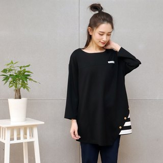 Striped Asymmetrical Seven-Sleeve T-Shirt (Total Tri-Color)