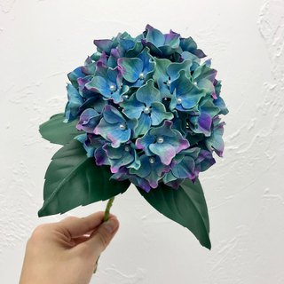 Hand-dyed Green & Blue Leather Hydrangea