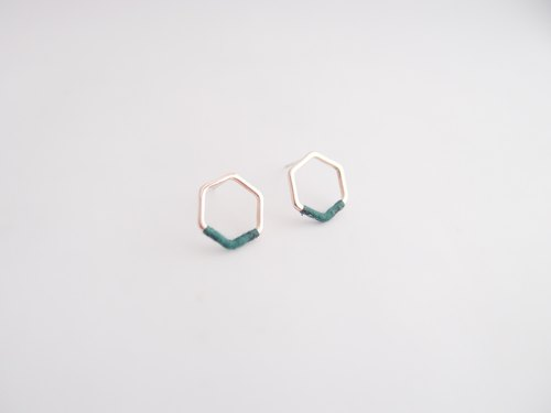 Hexagonal geometry. Sterling silver earrings. Yu Yi green cabbage