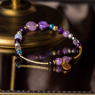 <Slow and warm natural stone series>C1146-4 purple top round brass bracelet