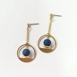 Brilliant ◆ [gravel series] Mercury natural stone lapis lazuli graining long circular tube drape brass ear ear clip earrings