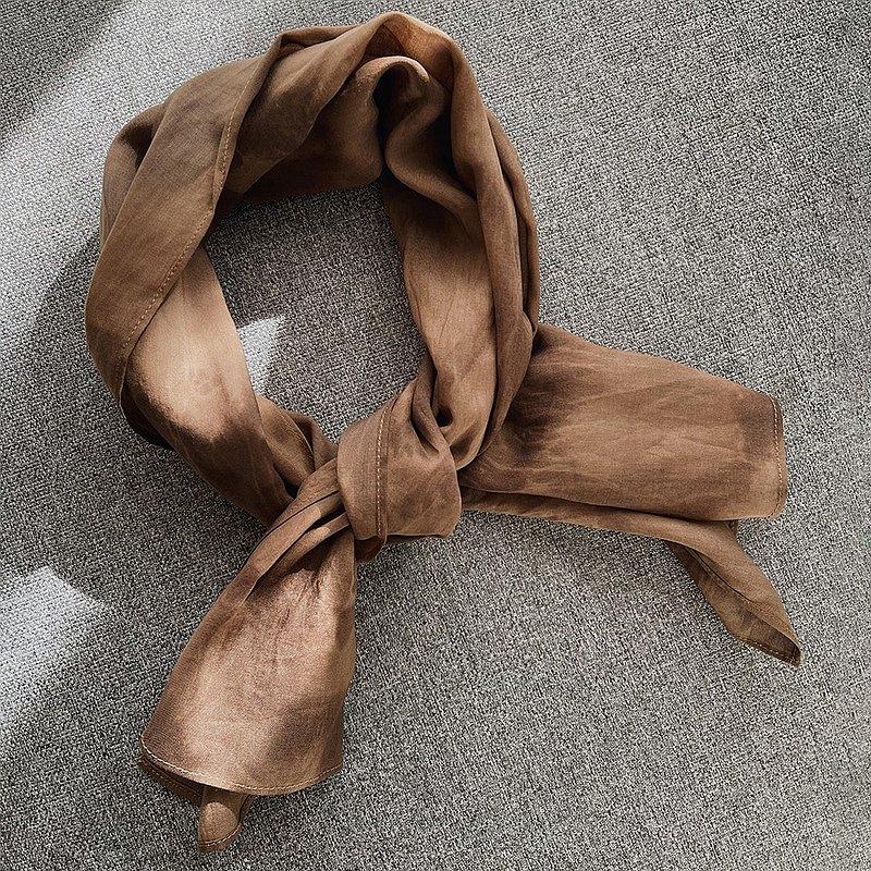 棕色印花絲巾 領巾 髮帶 水墨扎染 棉 Life-014