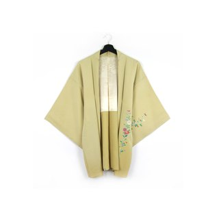 Back to Green-Japan with back feather weave pink green flower / vintage kimono