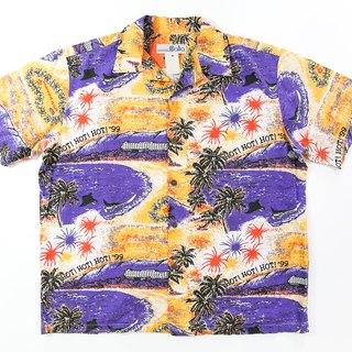 [3thclub Ming Ren Tang] Hawaii shirt bright orange bay Japan HWS-002 vintage