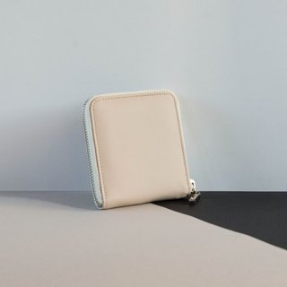 'MONDAY' ITALY LEATHER SHORT WALLET- WHITE/CREAM