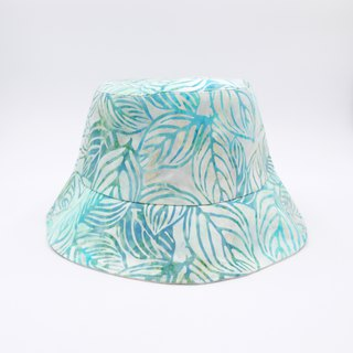/Handmade bucket hat/  Mint tie-dye leaves print reversible hat