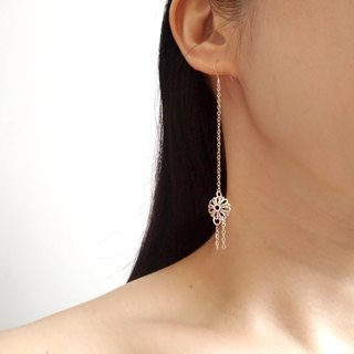 E070-花语- sterling silver flowers long hanging needle / clip earrings