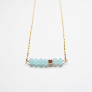 Minimalty Gold-plated Square Pearl · Czech Cut Necklace · Gold-plated Necklace (45cm) - Transparent Blue