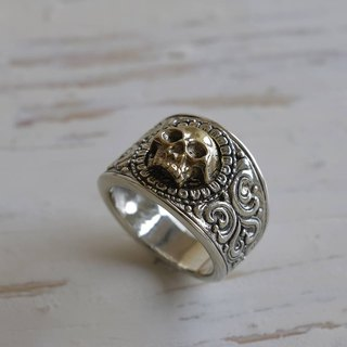 Gothic Reaper Skull Ring biker Sterling Silver Men Statement Pirate Jewelry 925