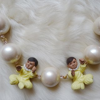 Twin Baby Necklace Yellow Harajuku kawaii Girly