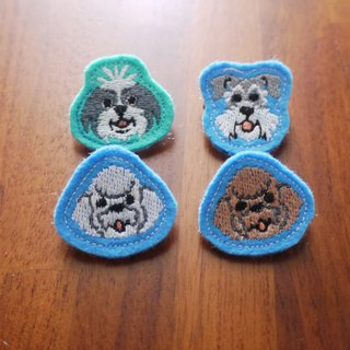 Happy Dog (F) Embroidered Brooch 4 (Background Color Random Manufacture)