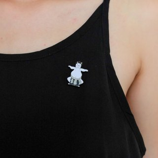 Sumo Cat (White) Pin
