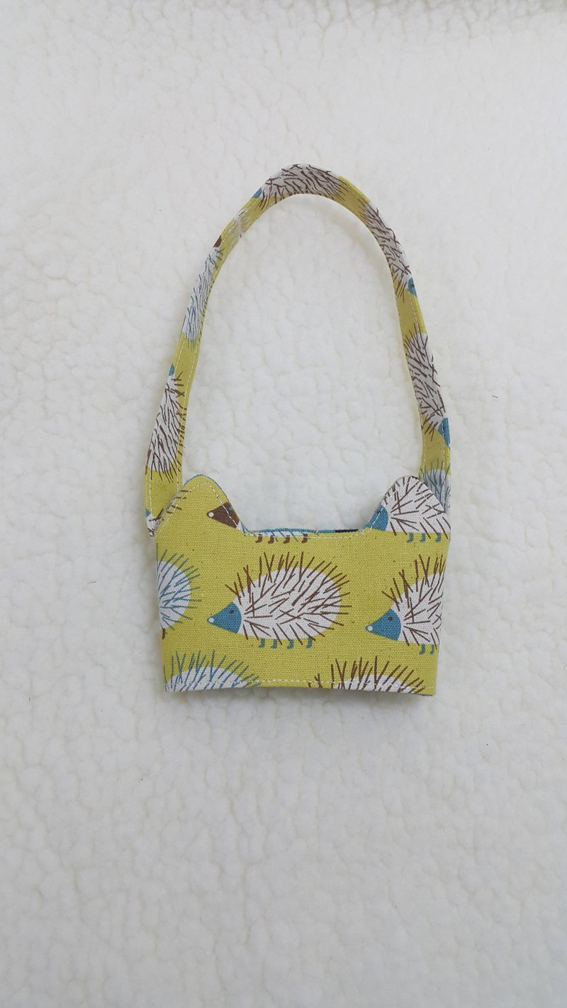 Hedgehog / tri-color cat ears with eco-friendly drink cup sleeve bag / double-sided available