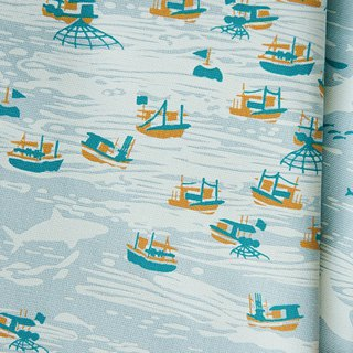 Hand-Printed Cotton Canvas - 250g/y / Boats / Water Blue