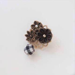 Deep Brown Fabric Floral Corsage, Brooch custom