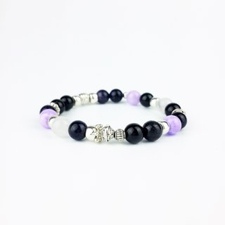 Constellation series | Cancer girl blue sand purple white marble rainbow eye obsidian white chalcedony (Tibetan silver x bracelet x bracelet x handmade x customized.)