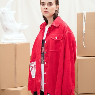 White Offset Red Shirt Cotton Coat Boyfriend Thin Coat Hit Color Line Shirt