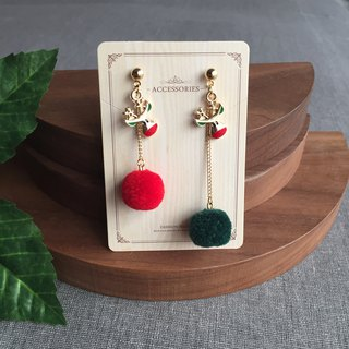 Christmas New Year gifts golden elk red green fur ball dangle drop earrings