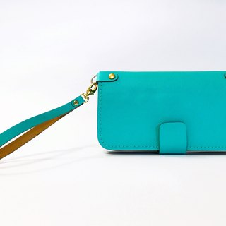 Blue Tiffany blue leather mobile phone wallet