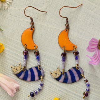 Jerwelry, Earrings, Cat Earrings, Enamel Jewelry, Purple, Orange, Stiped,