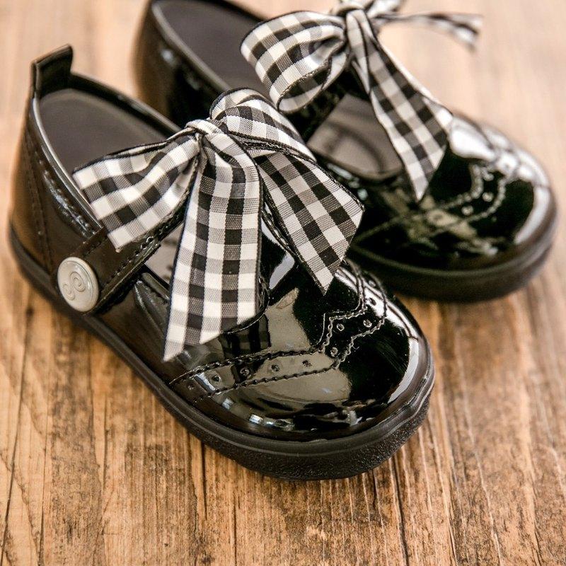 Ann亮面黑色T型娃娃鞋