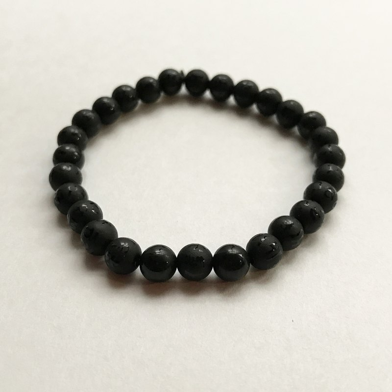 ☽ Qi Xi hand for ☽ [07299] 6mm mantra matte black agate