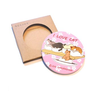 Cat Ceramic Water Cup Coaster~ Pink Cherry Blossom Sushi Cat