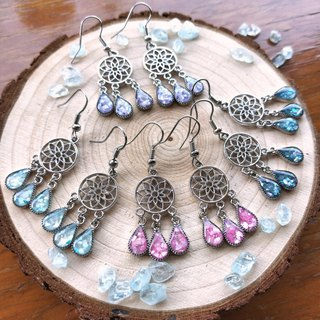 J007- Dreamcatcher Crystal Gel Water Drop Earrings 4 Color