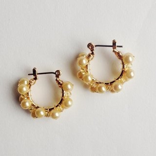 Double volume citrine and vintage pearl volume hoop earring / hoop earrings ear needle / ear