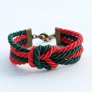 Christmas gift collection , Red/White double knot rope bracelet
