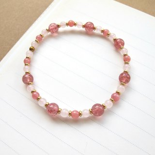 [Autumn Maple] Pink Crystal x Strawberry Crystal x Red Stone x Brass - Custom Crystal Bracelet