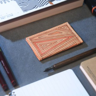 Hand drawn modern wind totem thin leather card holder