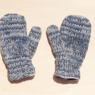 Christmas gifts handmade limited edition pure wool knitted warm gloves / gloves for children / child gloves / bristles gloves / knitted gloves / mittens - blue sky blending