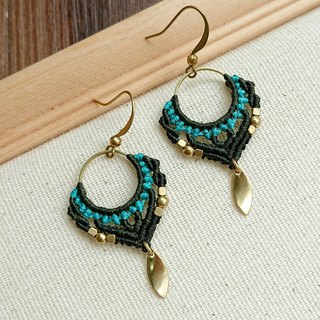 Misssheep-A113-National style South American wax wire braided brass bead earrings (ear hook/ear clip)