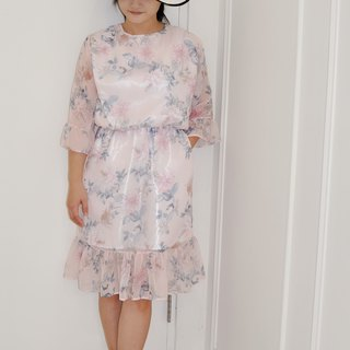 Flat 135X Taiwan Designer Series Wavy Sleeve Dress Pink Flower Translucent Chiffon Fabric