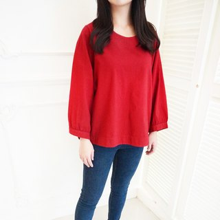 Cotton wide-sleeved shirt / Burgundy